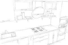 Skissa teckningen av den moderna inre för kök 3d med den runda huven Vektor Illustrationer