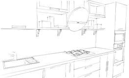 Skissa teckningen av den moderna inre för kök 3d med den runda huven Royaltyfri Illustrationer