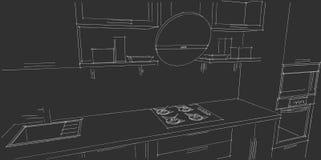 Skissa teckningen av den moderna inre för kök 3d med den runda huven på svart bakgrund Stock Illustrationer