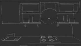 Skissa teckningen av den moderna inre för kök 3d med den runda huven på svart bakgrund Vektor Illustrationer