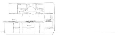 Skissa teckningen av den moderna inre för kök 3d med den runda huven på vit lång bakgrund Stock Illustrationer