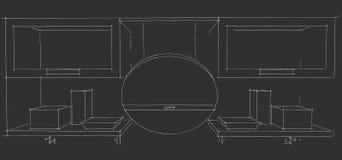 Skissa teckningen av den moderna inre för kök 3d med runda huv- och exponeringsglasdörrar av skåp på svart bakgrund Arkivbilder