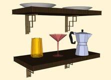 Skissa teckningen av kitchenware på hylla Arkivfoton