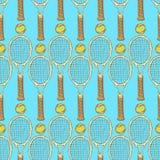 Skissa tennisutrustning i tappningstil Arkivfoton