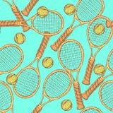 Skissa tennisutrustning i tappningstil Royaltyfri Bild