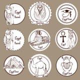Skissa uppsättningen av Egypten etiketter stock illustrationer