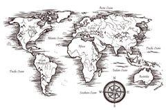 Skissa världskartamallen royaltyfri illustrationer