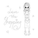 Skissa vektorförälskelse shoppingmodeillustrationen med en gullig skissad modeflicka Royaltyfria Bilder