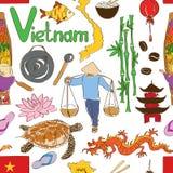 Skissa Vietnam den sömlösa modellen Royaltyfria Bilder