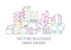 Skissad fabriksbyggnadshand som dras Fotografering för Bildbyråer