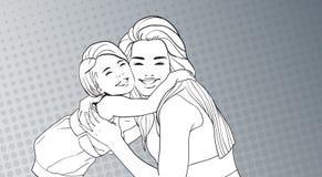 Skissad liten flicka för kvinnaomfamning, moder med dottern över popet Art Retro Pin Up Background stock illustrationer