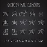 Skissad postbeståndsdeluppsättning vektor illustrationer