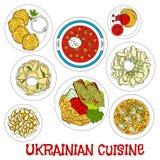 Skissad ukrainsk meatless disk för fastlagensymbol stock illustrationer