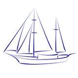 Skissad yacht royaltyfri illustrationer