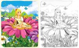 Skissafärgläggningsidan med förtitten - konstnärlig stil - illustration för barnen Arkivbilder