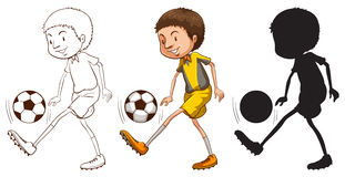 Skissar av en fotbollspelare i olika färger Royaltyfri Fotografi