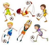 Skissar av fotbollspelarna royaltyfri illustrationer