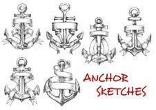 Skissar av gamla heraldiska ankaren med band Arkivbilder