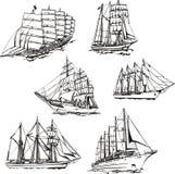Skissar av seglingar Royaltyfri Foto