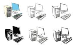 Skissar av skrivbords- datorer stock illustrationer