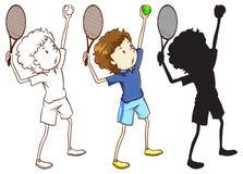 Skissar av tennisspelaren i tre olika färger Arkivfoto
