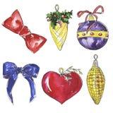 Skissar dekorativa bollar och pilbågar för jul royaltyfri illustrationer