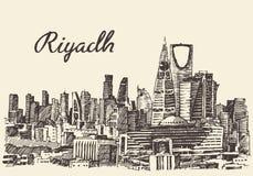 Skissar den drog Riyadh horisont inristade vektorhanden Royaltyfria Bilder
