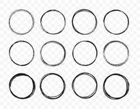 Skissar den fastställda handen drog cirkellinjen uppsättningen Cirkuläret klottrar klotterrundacirklar för beståndsdel för design stock illustrationer