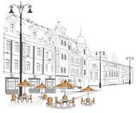 skissar den gammala serien för staden gator stock illustrationer