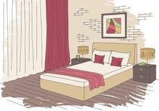 Skissar den grafiska färginre för sovrummet illustrationen Royaltyfria Bilder