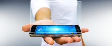 Skissar den hållande websitesidan för affärsmannen över mobiltelefonen Arkivbilder