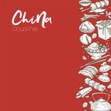 Skissar den kinesiska disken för för Kina kokkonstmat och drink royaltyfri illustrationer