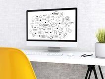 skissar den moderna workspace 3d och datoren med utbildning Royaltyfria Foton