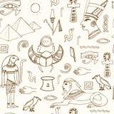 Skissar den sömlösa modellen för Egypten symboler Royaltyfri Bild