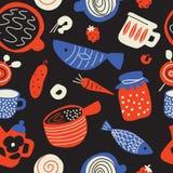 Skissar den sömlösa modellen för rolig mat in stil Skandinavisk mat och kök ware Gjort i vektor royaltyfri illustrationer