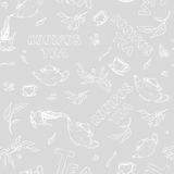 Skissar den sömlösa modellen för vektorn av objekt bulle-kamp och bokstäver på grå bakgrund Rooibos te från den hällda kokkärlet royaltyfri illustrationer