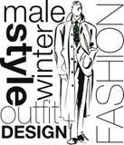 skissar den stiliga illustrationmannen för mode Arkivbild