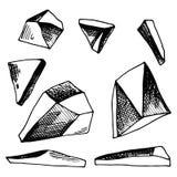 Skissar den stora uppsättningen för stenar av vektorn Isolerat anmärker stock illustrationer