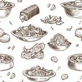 Skissar den traditionella disken för koreansk kokkonst den sömlösa modellen vektor illustrationer