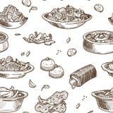 Skissar den traditionella disken för koreansk kokkonst den sömlösa modellen royaltyfri illustrationer