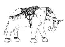 Skissar den utdragna elefanten för handen symbol Trunked djur beståndsdel för vektor i moderiktig stil stock illustrationer