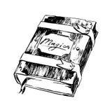 Skissar den utdragna magiska boken för handen illustrationen Teckning för vektorsvartfärgpulver som isoleras på vit bakgrund Grun stock illustrationer