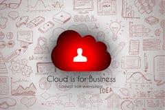 Skissar det beräknande begreppet för molnet med infographics uppsättningen: Arkivbild
