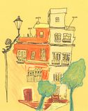Skissar det gamla huset för pastell och för eyeliner royaltyfri illustrationer