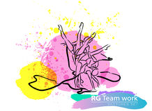 Skissar det konstnärliga rytmiska gymnastiska laget för vektorn uppsättningen Royaltyfria Bilder