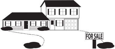 skissar det level försäljningstecknet för huset split vektor illustrationer