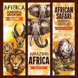 Skissar det utomhus- affärsföretaget för den afrikanska safari baneruppsättningen royaltyfri illustrationer