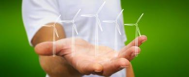 Skissar hållande förnybara energikällor för affärsmannen Royaltyfri Fotografi