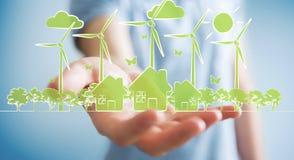 Skissar hållande förnybara energikällor för affärsmannen Arkivfoto