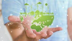 Skissar hållande förnybara energikällor för affärsmannen Royaltyfri Foto